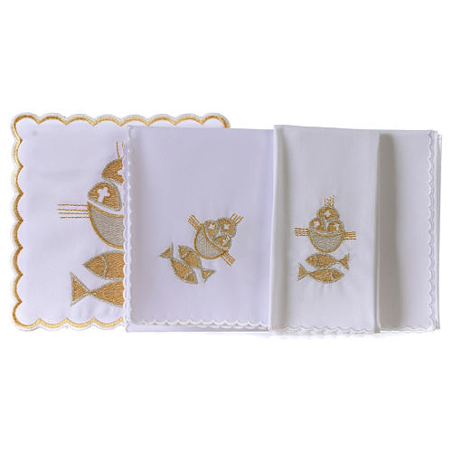 Altar linen set 4 pcs. loaves and fishes symbol 3