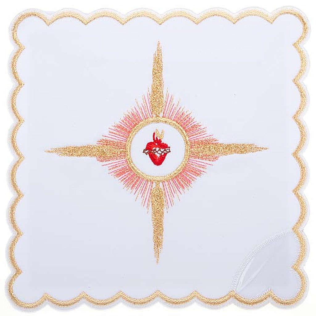 Linge d'autel 4 pcs brodé Sacre Coeur de Jésus 4