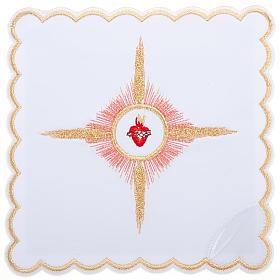 Linge d'autel 4 pcs brodé Sacre Coeur de Jésus s1