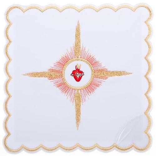 Linge d'autel 4 pcs brodé Sacre Coeur de Jésus 1