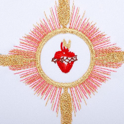 Linge d'autel 4 pcs brodé Sacre Coeur de Jésus 3