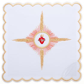 Servizio da messa 4pz. ricamato Sacro Cuore di Gesù s1
