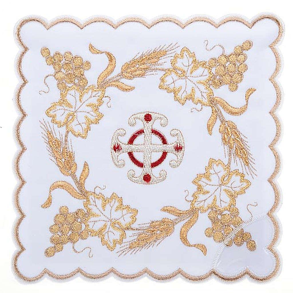 Linge d'autel 4 pièces symboles croix et épis 4