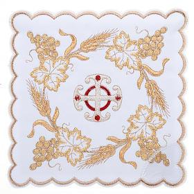 Bielizna kielichowa 4 cz. symbole krzyż kłosy złocone s1
