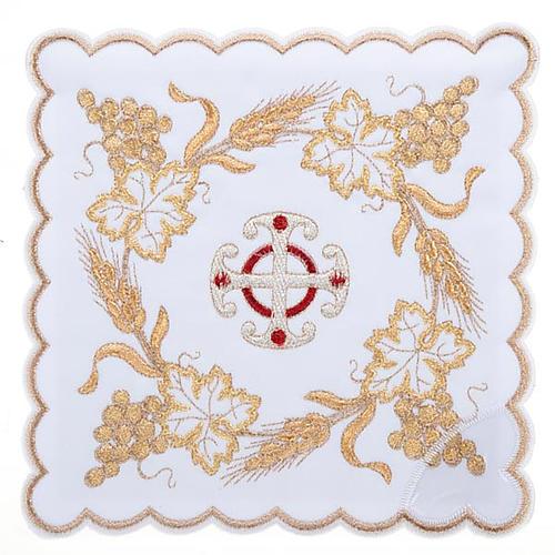 Bielizna kielichowa 4 cz. symbole krzyż kłosy złocone 1