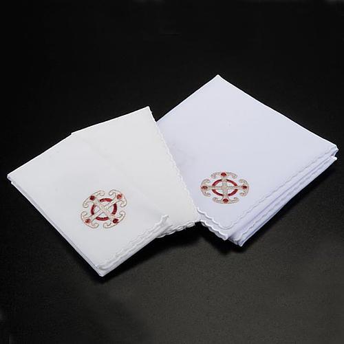 Bielizna kielichowa 4 cz. symbole krzyż kłosy złocone 2