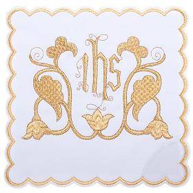 Linge d'autel 4 pièces symbole IHS et décors s1