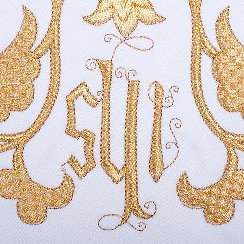 Linge d'autel 4 pièces symbole IHS et décors 3