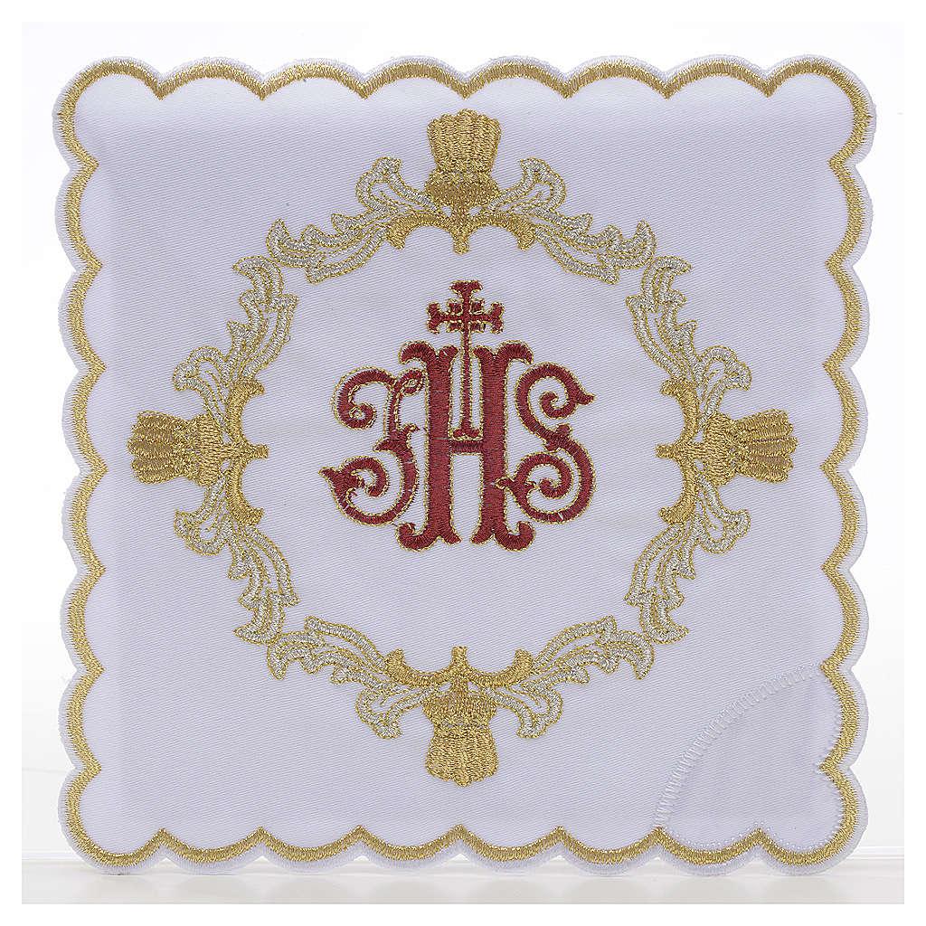 Servizio da mensa 4pz. ricamato simbolo IHS rosso 4