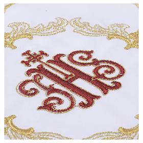 Servizio da mensa 4pz. ricamato simbolo IHS rosso s2