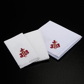 Linge d'autel 4 pièces symbole IHS rouge et é s2
