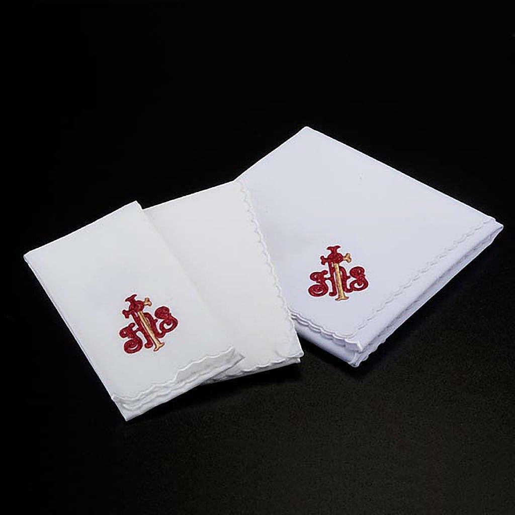 Servizio da messa 4pz. simbolo IHS rosso e spighe dorate 4