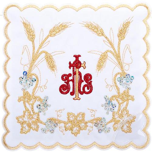 Servizio da messa 4pz. simbolo IHS rosso e spighe dorate 1