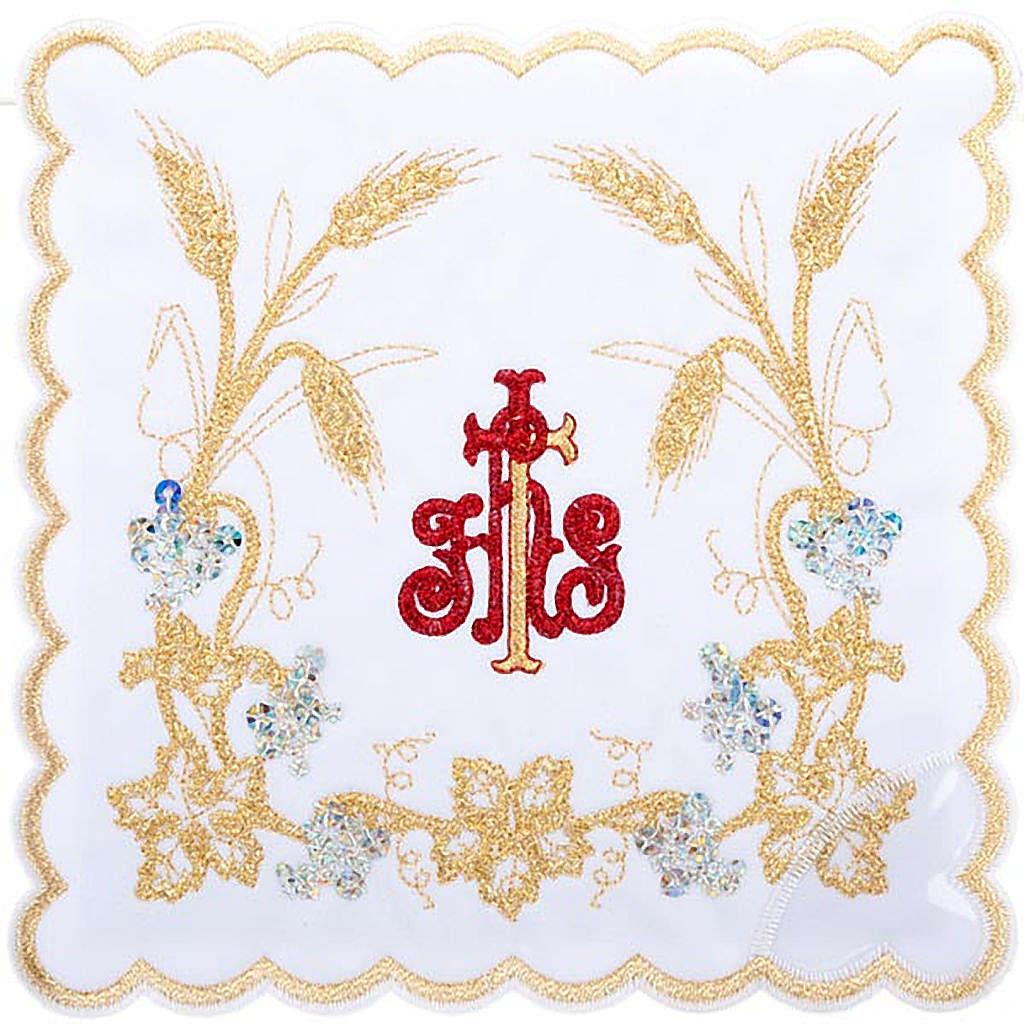 Komplet kielichowy 4 cz. symbol IHS czerwony kłosy złote 4