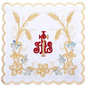 Komplet kielichowy 4 cz. symbol IHS czerwony kłosy złote s1