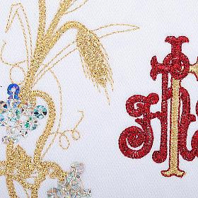 Komplet kielichowy 4 cz. symbol IHS czerwony kłosy złote s3
