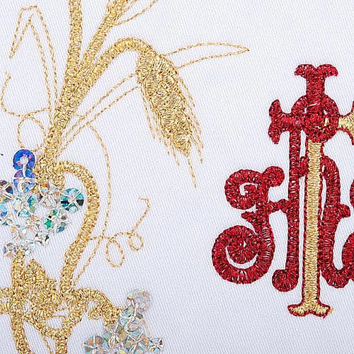 Komplet kielichowy 4 cz. symbol IHS czerwony kłosy złote 3