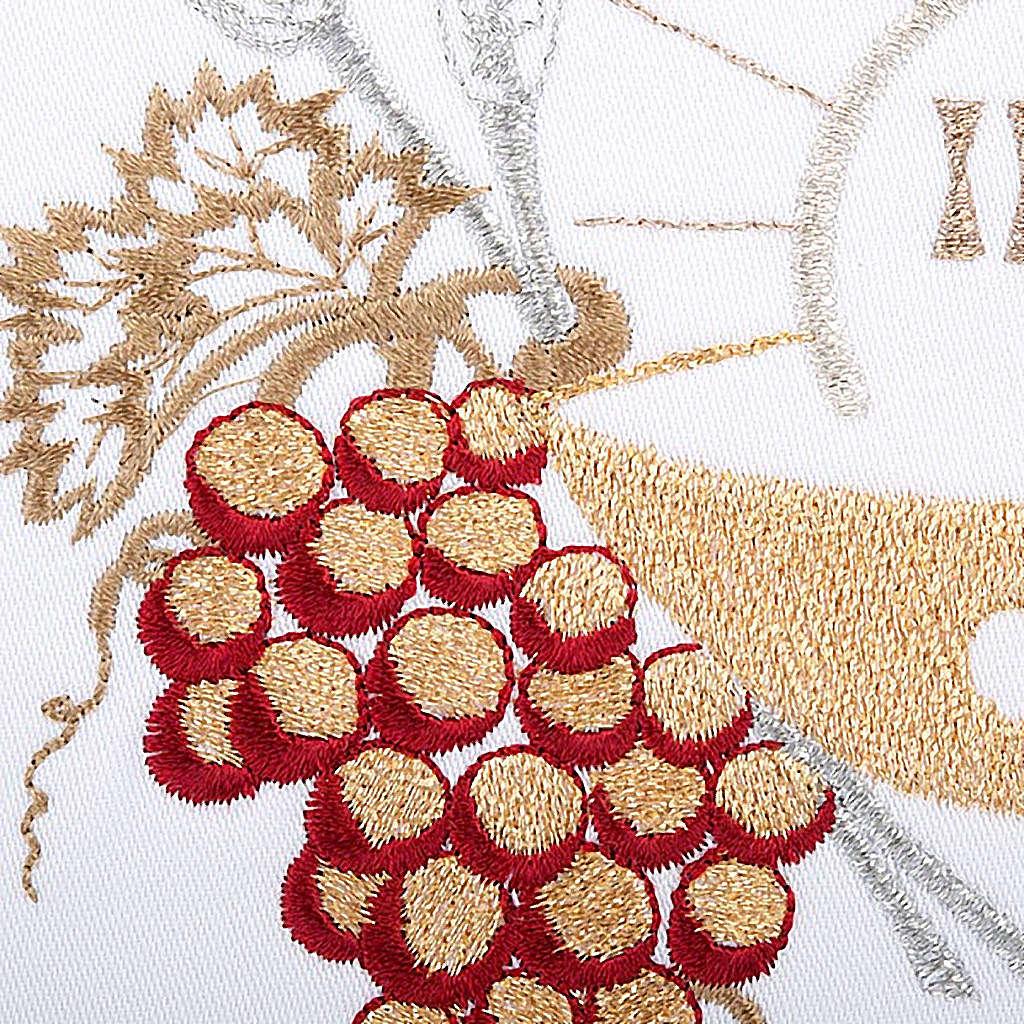 Linge d'autel 4 pcs symboles IHS, épis, raisin 4