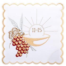 Linge d'autel 4 pcs symboles IHS, épis, raisin s1