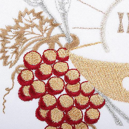Linge d'autel 4 pcs symboles IHS, épis, raisin 3