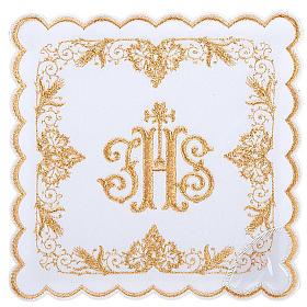 Linge d'autel 4 pcs symbole IHS doré s1