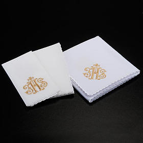 Linge d'autel 4 pcs symbole IHS doré s2