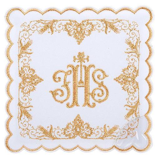 Linge d'autel 4 pcs symbole IHS doré 1