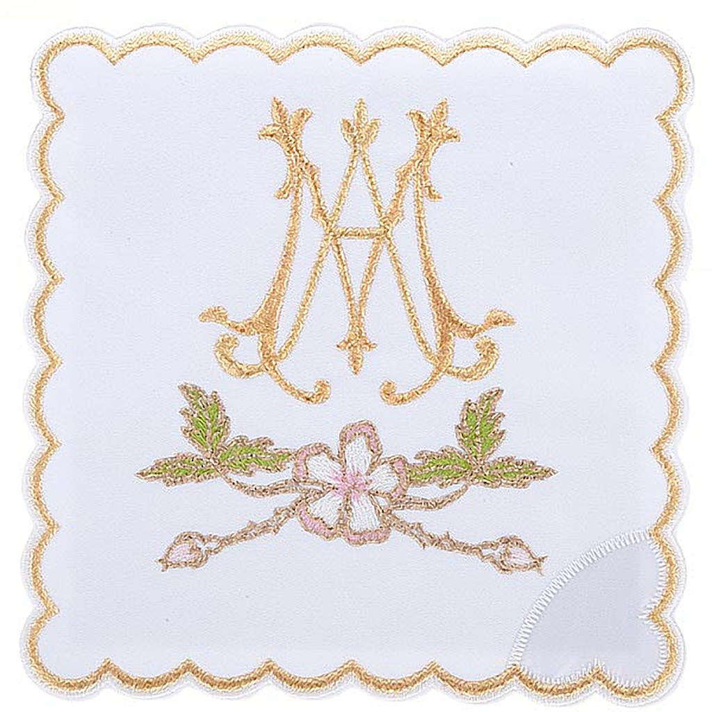Mass linens 4 pcs. Marian symbol and flowers 4