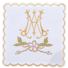 Mass linens 4 pcs. Marian symbol and flowers s1