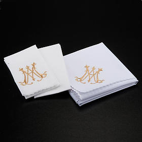 Mass linens 4 pcs. Marian symbol and flowers s2