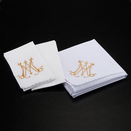 Mass linens 4 pcs. Marian symbol and flowers 2