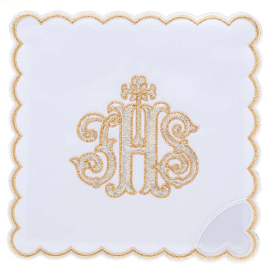 Linge d'autel 4 pcs IHS doré 4