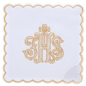 Linge d'autel 4 pcs IHS doré s1