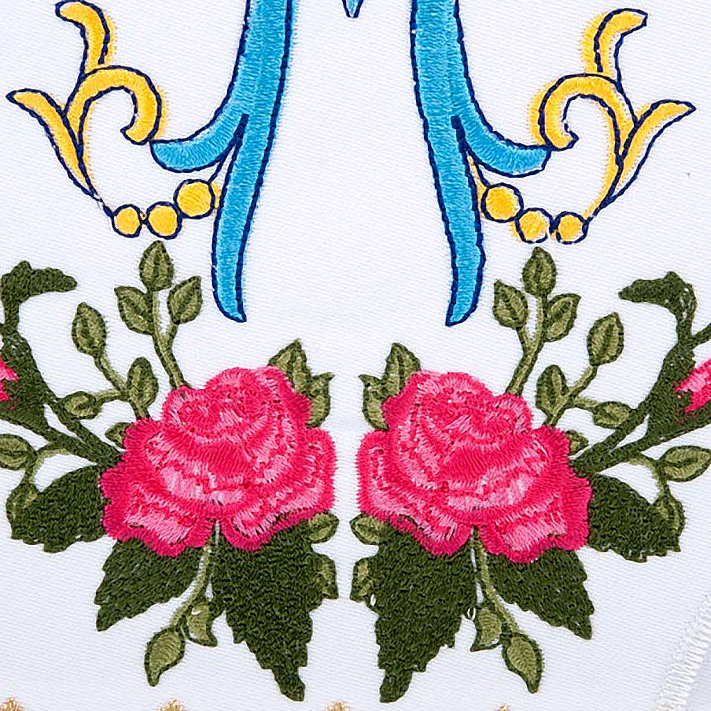 Conjunto de altar 4pz sñimbolo Mariano azul con rosas 4
