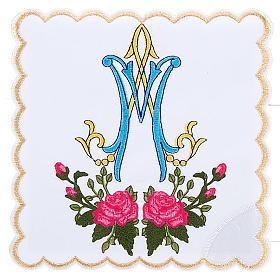 Conjunto de altar 4pz sñimbolo Mariano azul con rosas s1