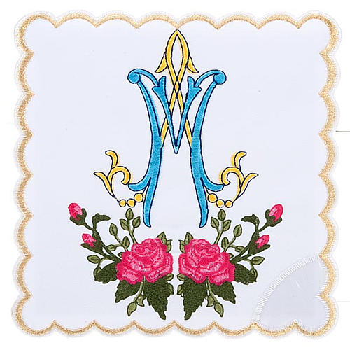 Conjunto de altar 4pz sñimbolo Mariano azul con rosas 1