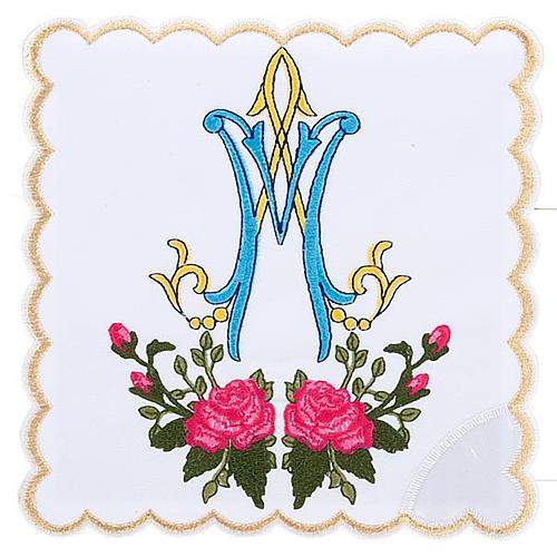 Linge d'autel 4 pcs symbole Marial  et roses 1