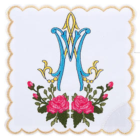Mass linens 4 pcs. Marian symbol and roses s1