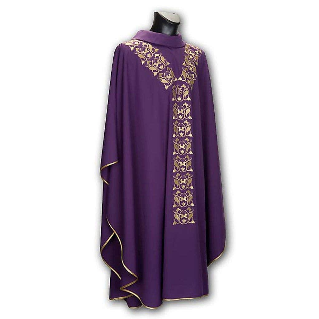Casula liturgica e stola ricamo IHS 4