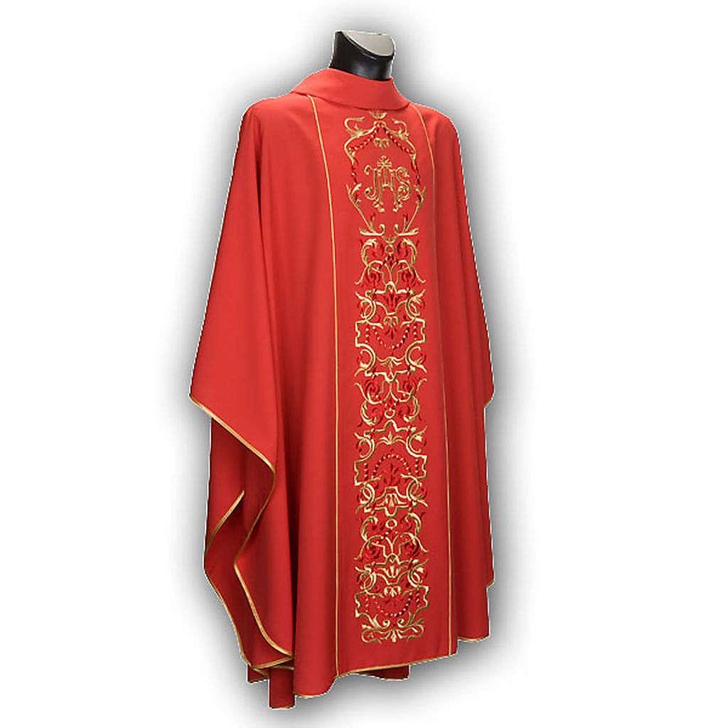 Casula liturgica e stola ricamo con IHS 4