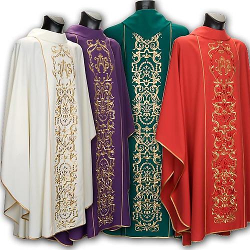 Casula liturgica e stola ricamo con IHS 1