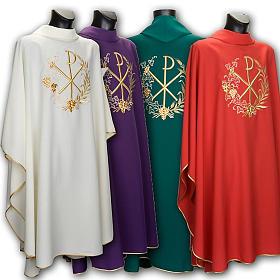 Casullas: Casulla litúrgica y estola con bordado XP