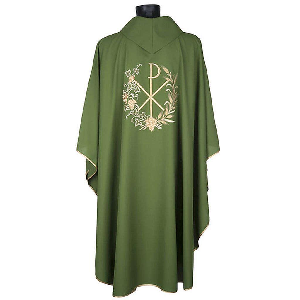 Chasuble et étole liturgiques, décor  Chi-Rho 4