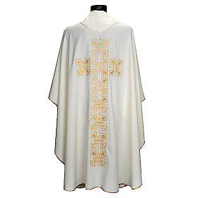 Casula liturgica e stola ricamo croce grande s2