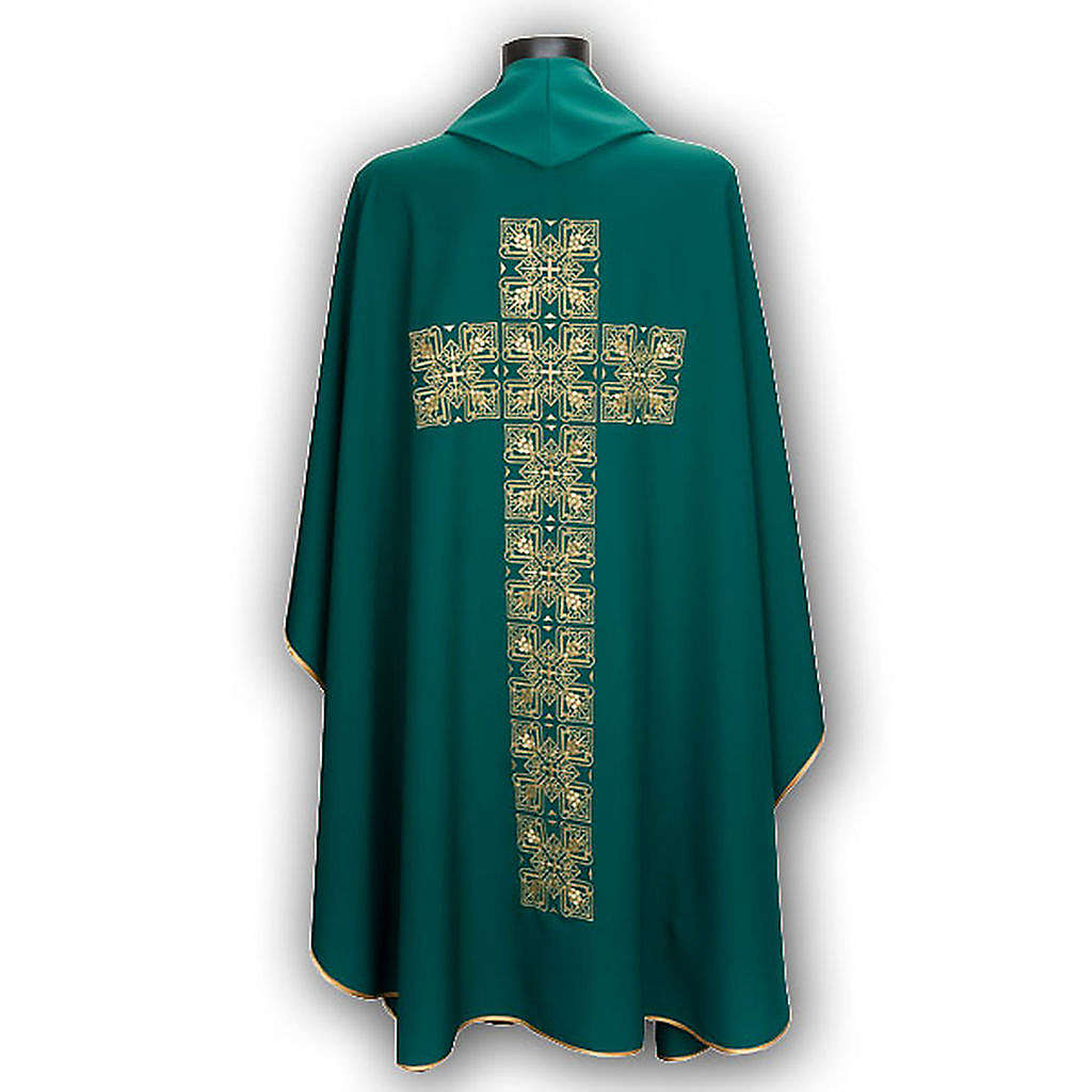 Casula litúrgica e estola bordado grande cruz 4