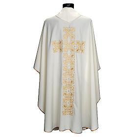 Casula litúrgica e estola bordado grande cruz s2