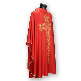 Casula litúrgica e estola bordado grande cruz s4