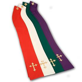 Casula litúrgica e estola bordado grande cruz s9