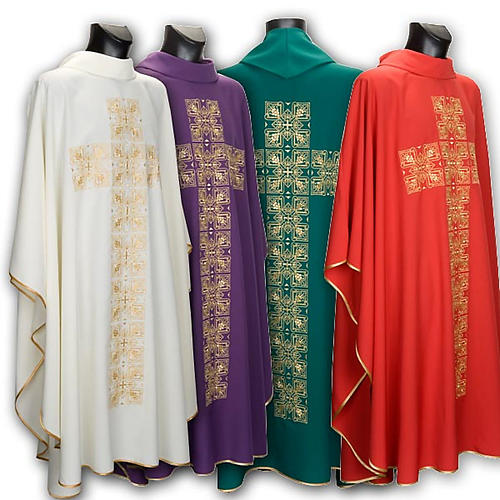 Casula litúrgica e estola bordado grande cruz 1