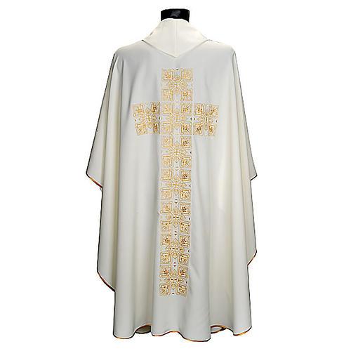 Casula litúrgica e estola bordado grande cruz 2